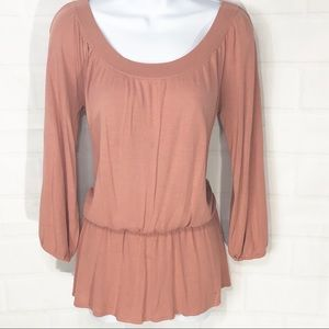 Loft Soft Coral drop waist scoop neck Top M